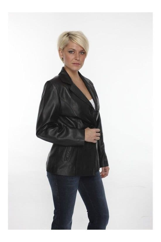 Ladies Leather Jacket Blazer Black